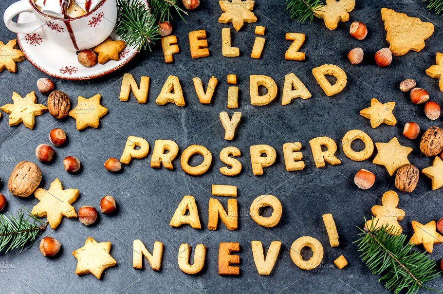 feliz navidad en spanish cookies words merry christmas and happy new year en spanish with