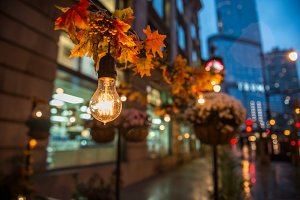 City streets illumination bulb