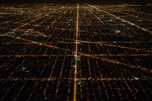 Aerial view to night city Chicago