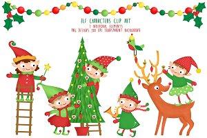 Elf Characters Clipart Santa Helpers
