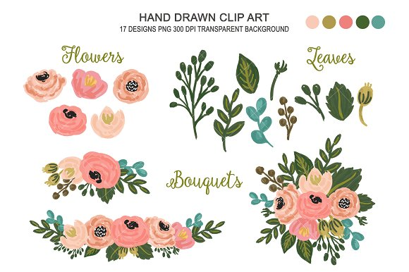 Wedding Floral Clipart Flower Art