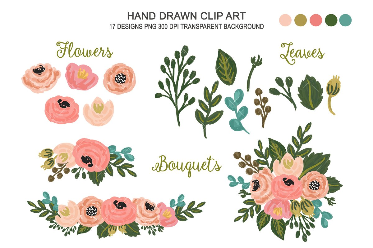 Wedding Floral Clipart Flower Art Custom Designed Illustrations