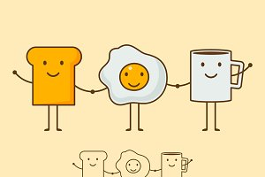 coffee, eggs and toast Vector
