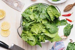 Spinach in colander