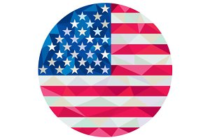 USA Flag Stars and Stripes Circle Lo