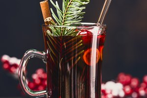 Glass mug of mulled wine