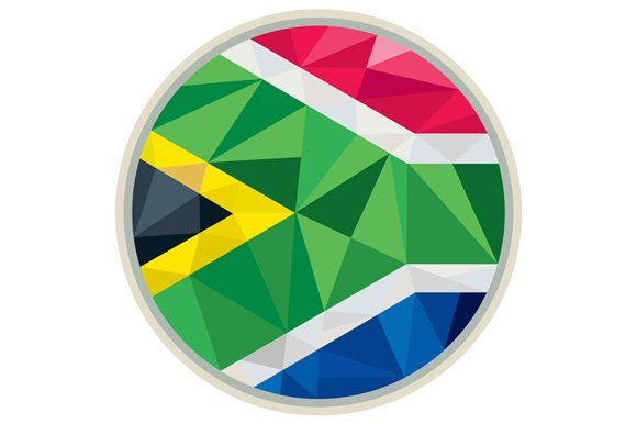 South Africa Flag Icon Circle Low Po