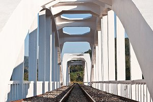 White concrete train bridge