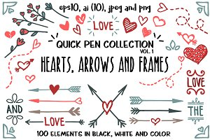 Hearts, arrows and frames