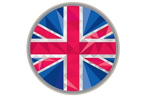 Union Jack UK GB Flag Circle Low Pol