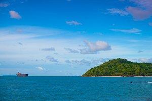 Cargo ship near the island.