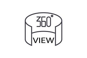 360 view concept vector thin line icon, symbol, sign, illustration on isolated background