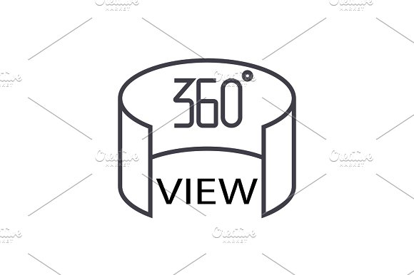 360 View Concept Vector Thin Line Icon Symbol Sign Illustration On Isolated Background