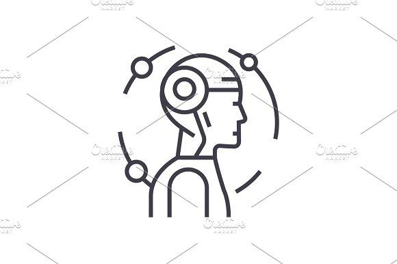 Android Robot Concept Vector Thin Line Icon Symbol Sign Illustration On Isolated Background