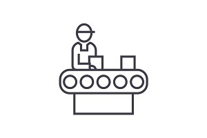 assembly conveyor  concept vector thin line icon, symbol, sign, illustration on isolated background