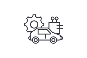 automated car concept vector thin line icon, symbol, sign, illustration on isolated background