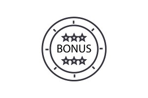 bonus coin concept vector thin line icon, symbol, sign, illustration on isolated background