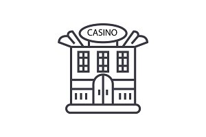 casino building concept vector thin line icon, symbol, sign, illustration on isolated background