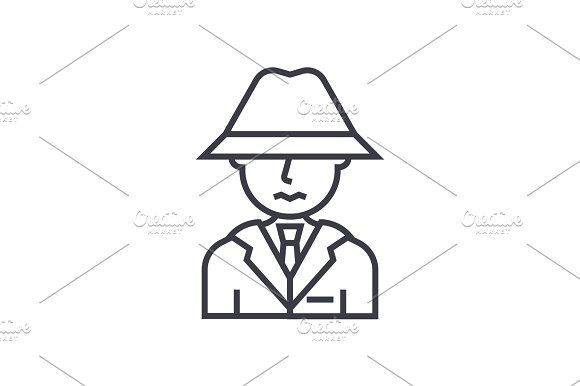 Detective Spy Man With Hat Concept Vector Thin Line Icon Symbol Sign Illustration On Isolated Background