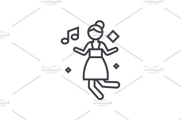 disco dancing girl concept vector thin line icon, symbol, sign, illustration on isolated background
