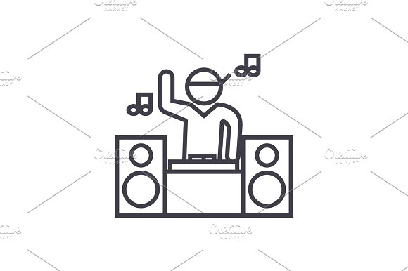 dj playing mix concept vector thin line icon, symbol, sign, illustration on isolated background