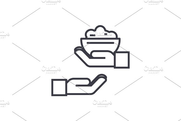 donate food concept vector thin line icon, symbol, sign, illustration on isolated background
