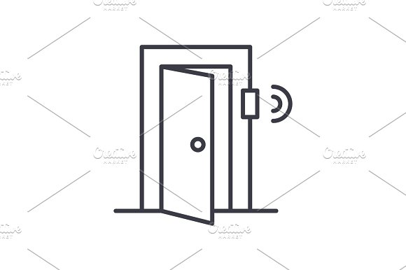 door signal security concept vector thin line icon, symbol, sign, illustration on isolated background