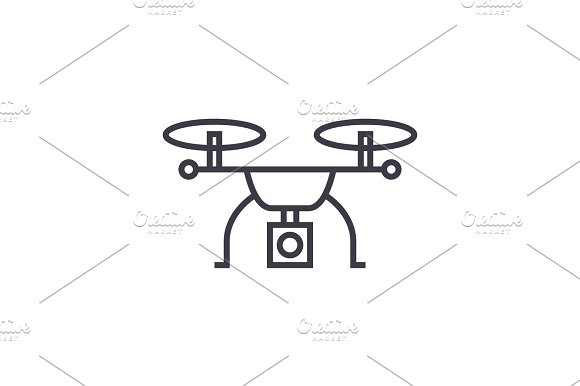 drone logistics concept vector thin line icon, symbol, sign, illustration on isolated background