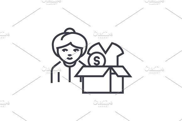 drop shipping concept concept vector thin line icon, symbol, sign, illustration on isolated background