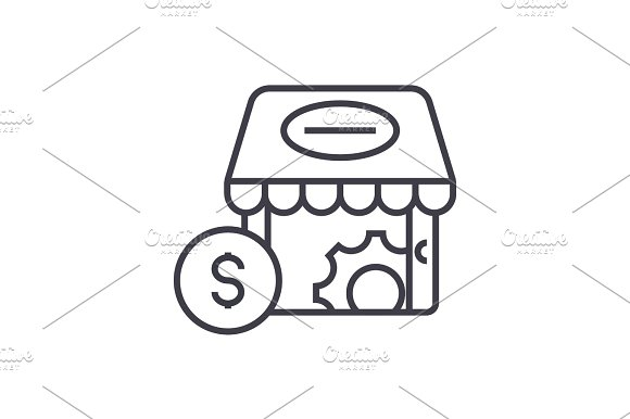 e-commerce marketing concept vector thin line icon, sign, symbol, illustration on isolated background