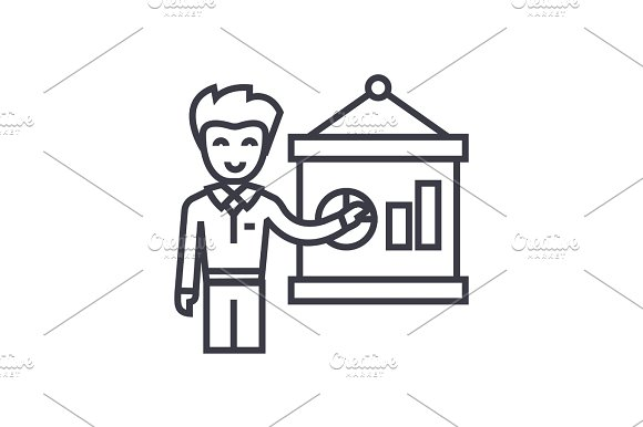 entrepreneur presenting startup project business plan concept vector thin line icon, symbol, sign, illustration on isolated background in Illustrations