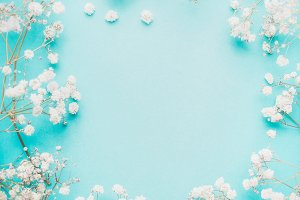 White flowers on turquoise , frame