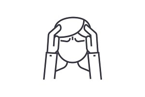 headache concept vector thin line icon, symbol, sign, illustration on isolated background