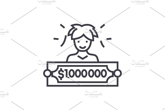 lottery winner concept vector thin line icon, symbol, sign, illustration on isolated background