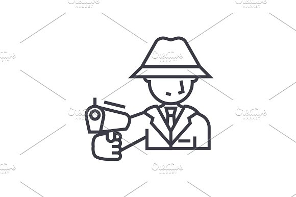 mafia, man with gun concept vector thin line icon, symbol, sign, illustration on isolated background