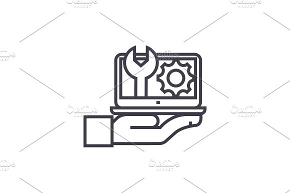 maintenance, computer support concept vector thin line icon, symbol, sign, illustration on isolated background