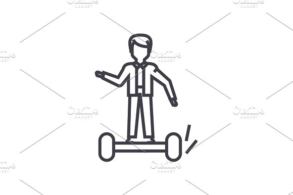 man on gyroscooter concept vector thin line icon, symbol, sign, illustration on isolated background