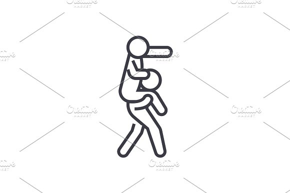 management, boss sitting on shoulders of employee concept vector thin line icon, symbol, sign, illustration on isolated background