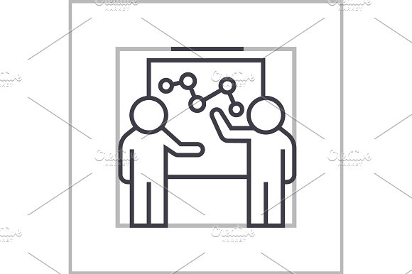 marketing plan discussion concept vector thin line icon, symbol, sign, illustration on isolated background in Illustrations
