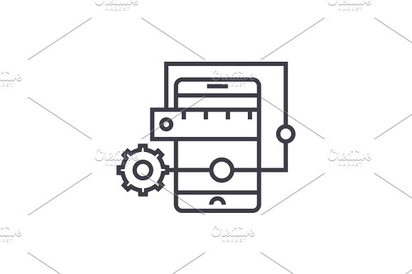 Mobile Application Development Concept Vector Thin Line Icon Symbol Sign Illustration On Isolated Background