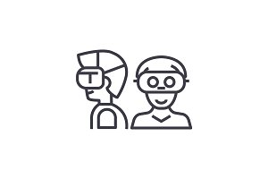 people with virtual reality headset concept vector thin line icon, symbol, sign, illustration on isolated background