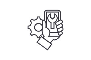smartphone repair concept vector thin line icon, symbol, sign, illustration on isolated background