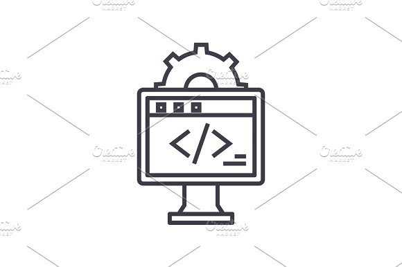 Web Development Concept Vector Thin Line Icon Symbol Sign Illustration On Isolated Background