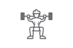 weightlifter  concept vector thin line icon, symbol, sign, illustration on isolated background