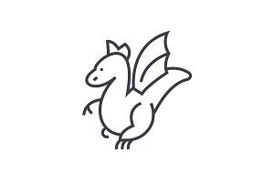 winged dragon concept vector thin line icon, symbol, sign, illustration on isolated background