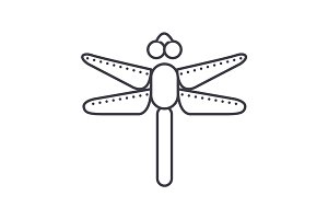 dragonfly vector line icon, sign, illustration on background, editable strokes