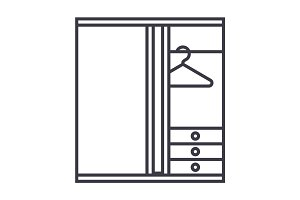 dressing room vector line icon, sign, illustration on background, editable strokes