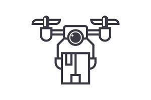 drone logistics vector line icon, sign, illustration on background, editable strokes
