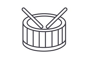 drums vector line icon, sign, illustration on background, editable strokes