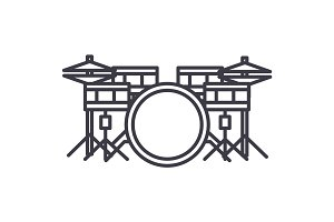 drums set vector line icon, sign, illustration on background, editable strokes